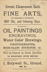 Advert For A Clearance Sale Of Fine Arts
